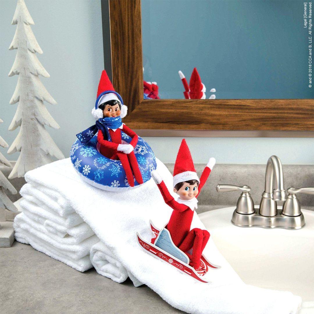 elf on the shelf sledding