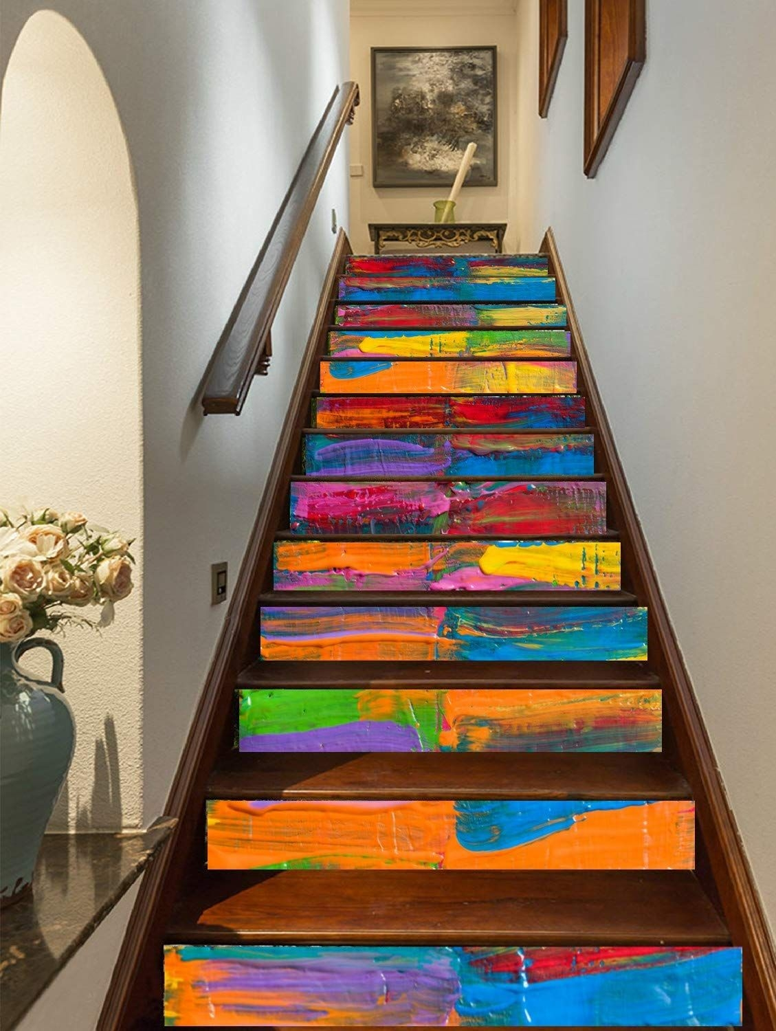 15 Of The Best Staircase Stickers And Tile Decals On Amazon   Best Wood For Indoor Stairs   Hardwood   Stair Parts   Stair Case   Glass   Red Oak