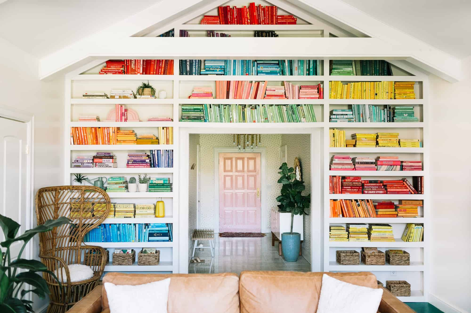 Diy Rainbow Bookshelf Tips Elsie Larson Colorful Book Wall