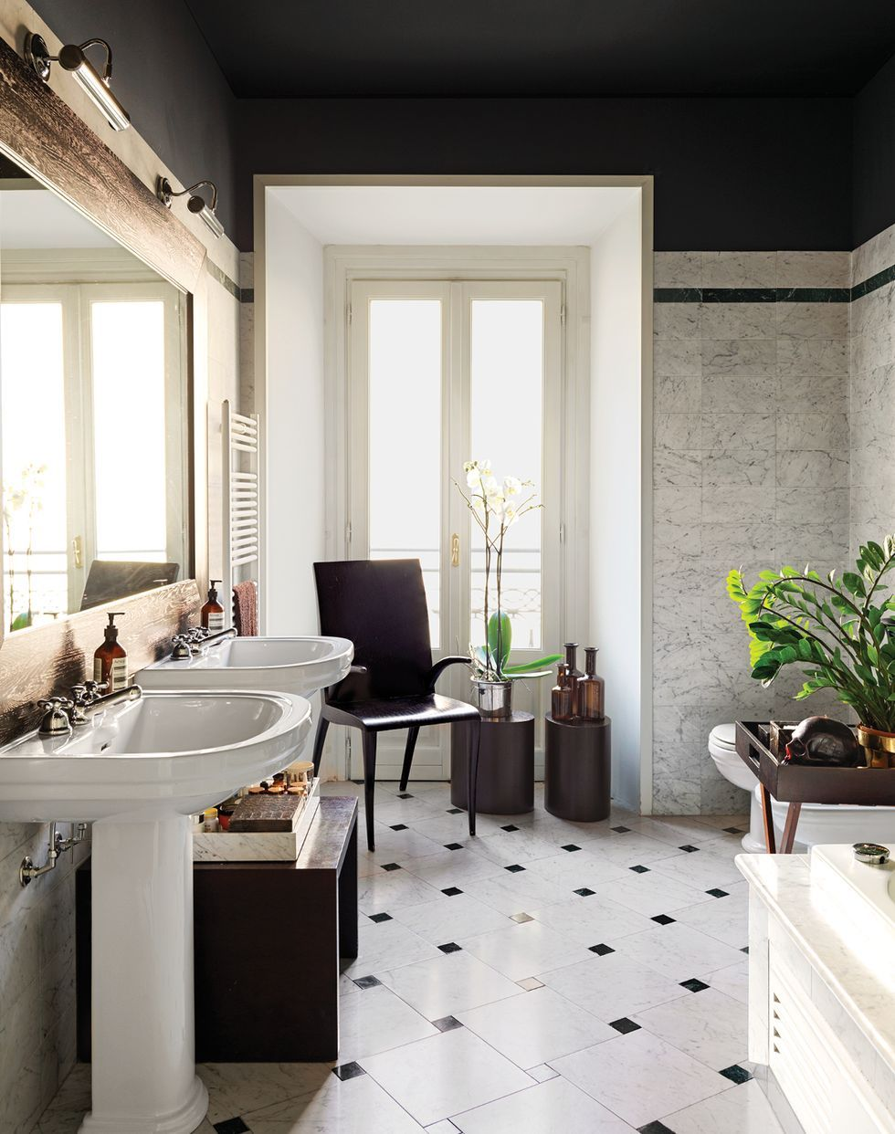 black white bathroom design and tile
