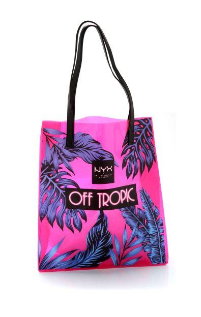 bolsa de nyx rosa y hojas