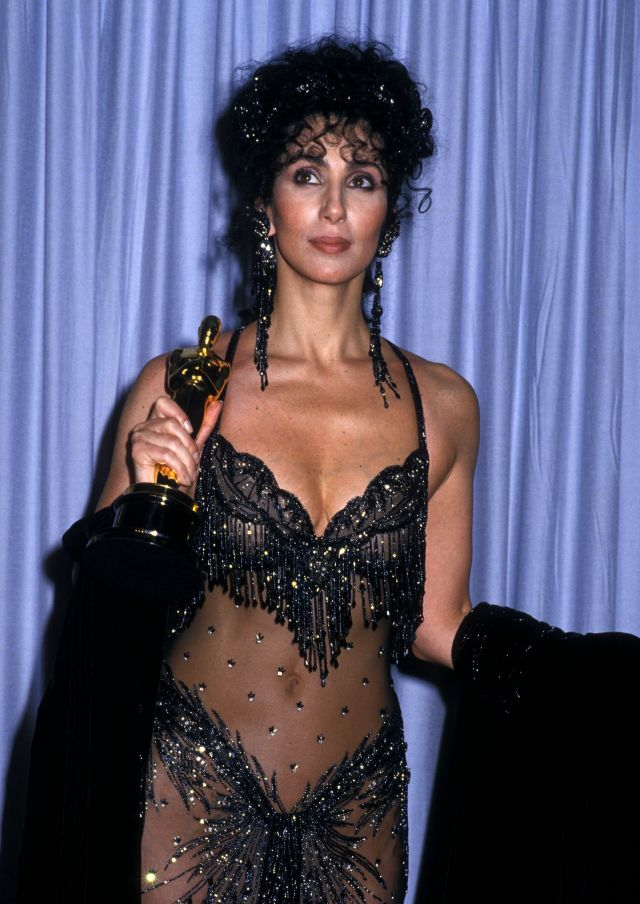 Cher Iconic Oscars Dress Remember When Cher Wore Bob Mackies Naked Dress To The Academy Awards In 1988