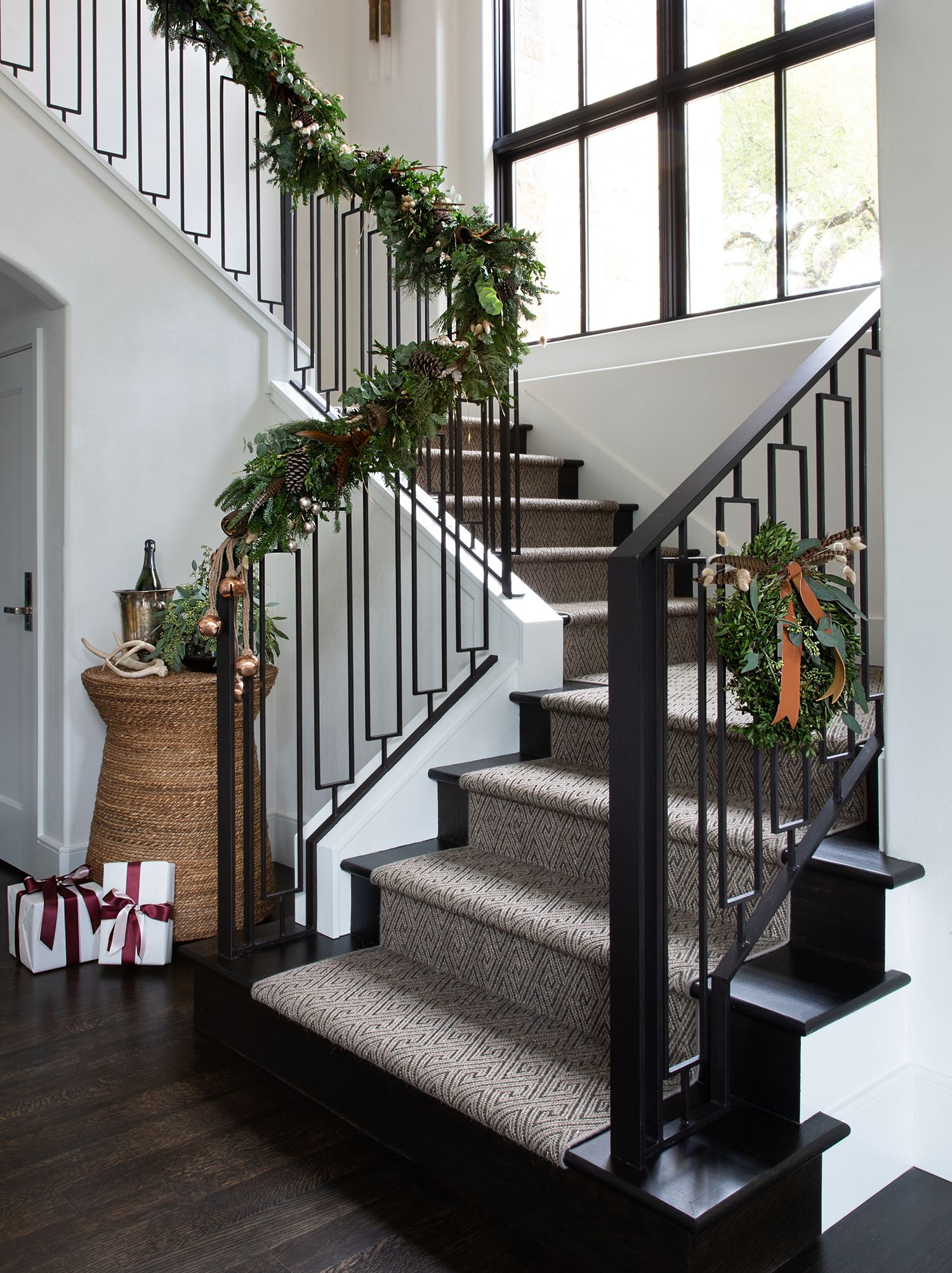 15 Best Christmas Staircase Decorating Ideas Xmas Stair Decor 2019   Best Stair Railing Design   Stainless   Outside   Staircase   Simple   Handrail