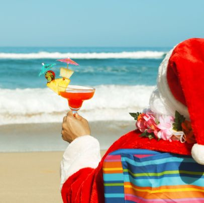 Christmas Santa Claus Enjoying Tropical Beach Vacation Holiday Travel