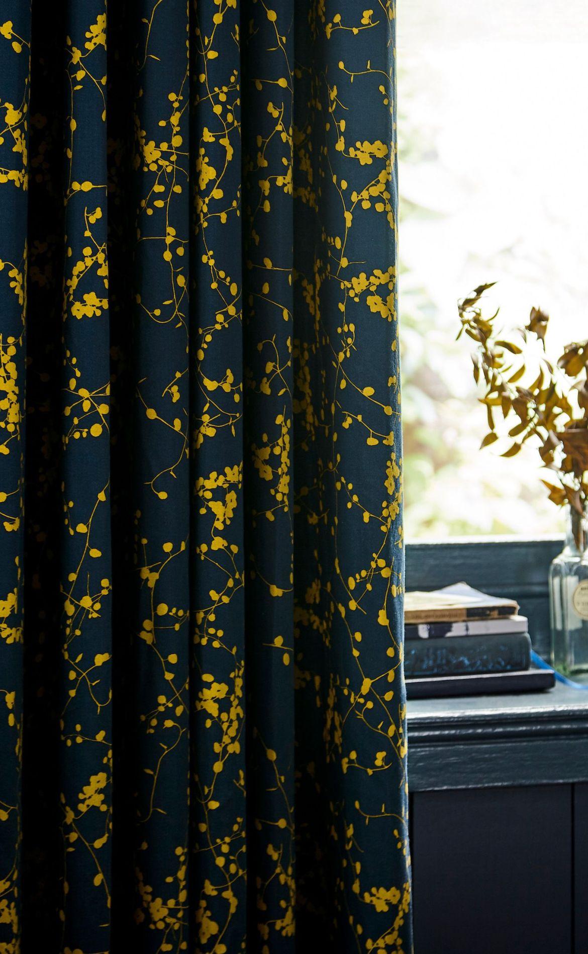 clarissa hulse goose grass curtains   blue  mustard