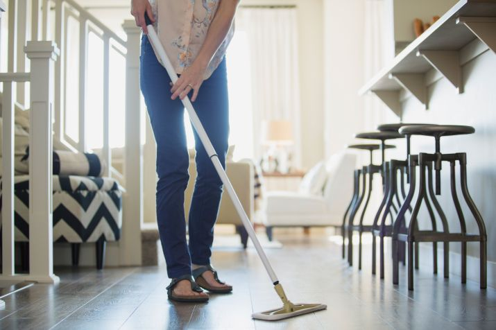 cleaning floors of house