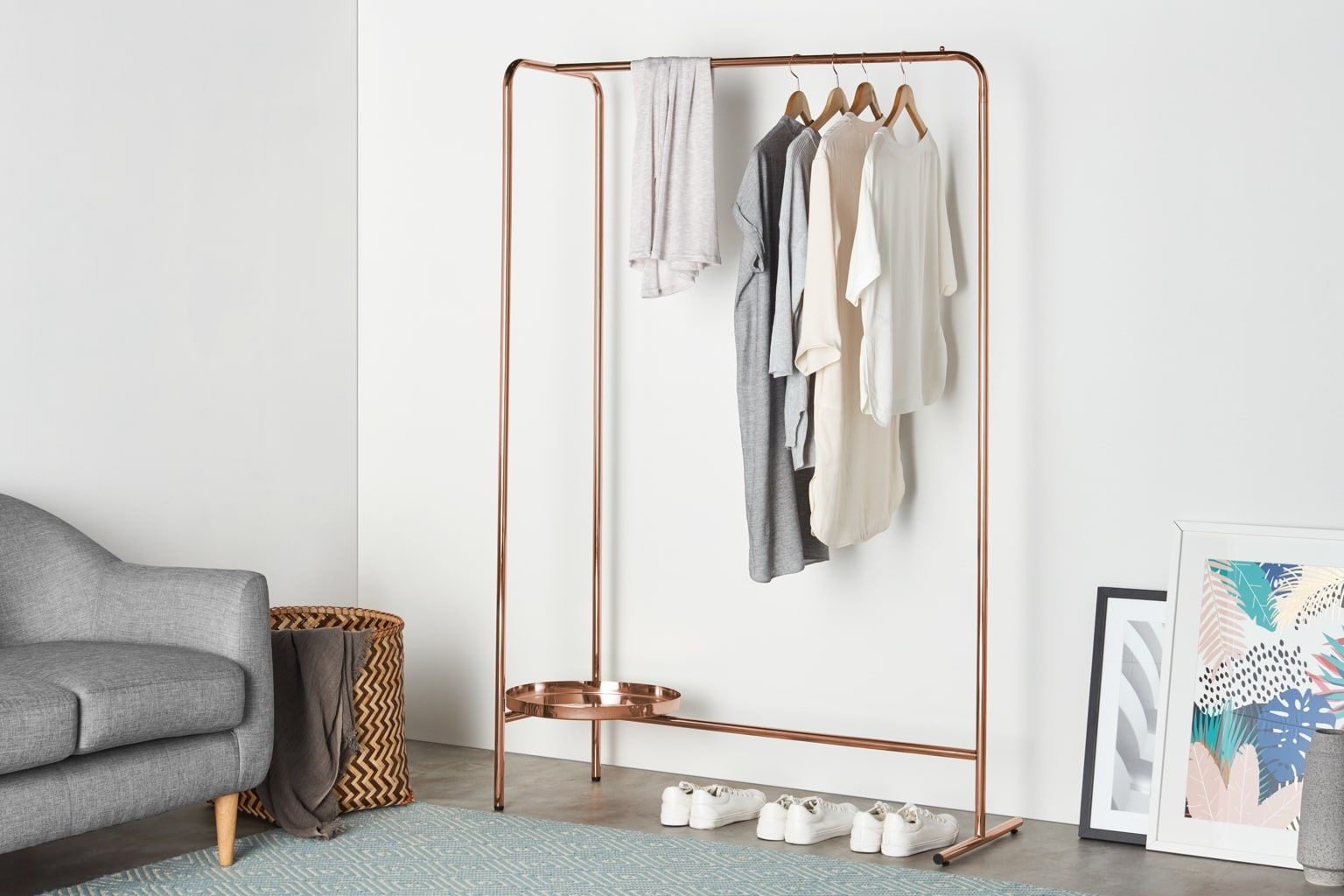 clothes rails for bedroom hallway storage