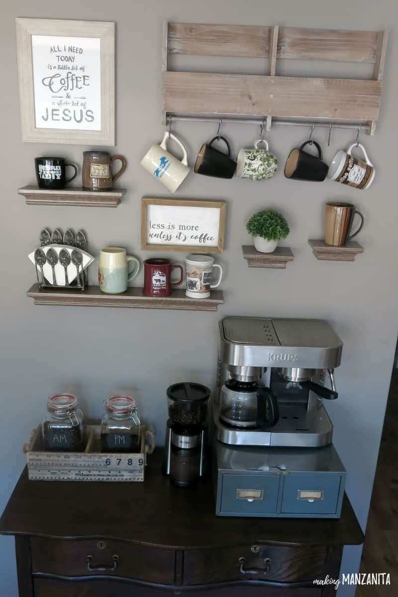 Coffee Bar Ideas - Mutli-level Coffee Bar