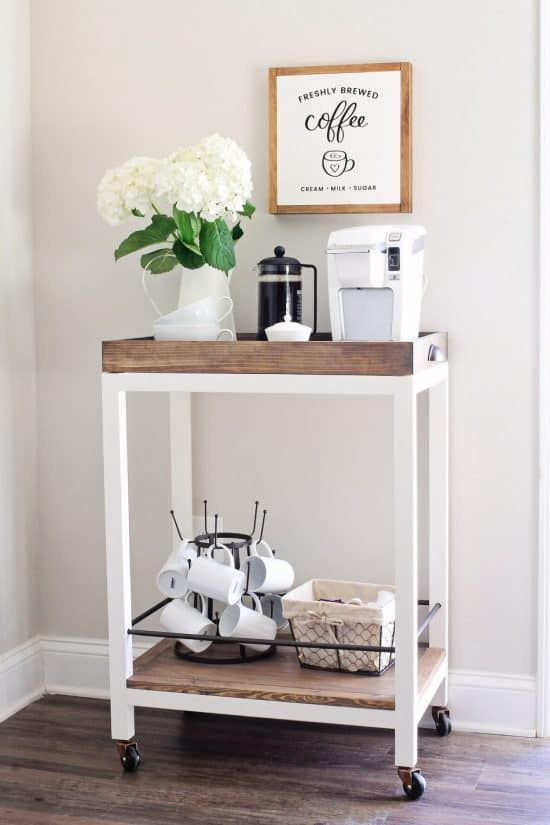 Coffee Bar Ideas - Minimalist Bar Cart
