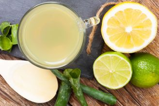 Drink with aloe vera and lemons