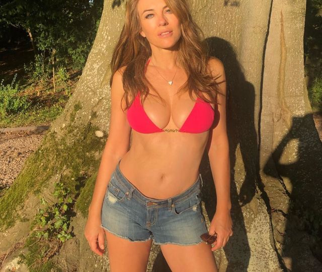 Elizabeth Hurley Shows Off Toned Abs In Red Bikini Instagram Photo
