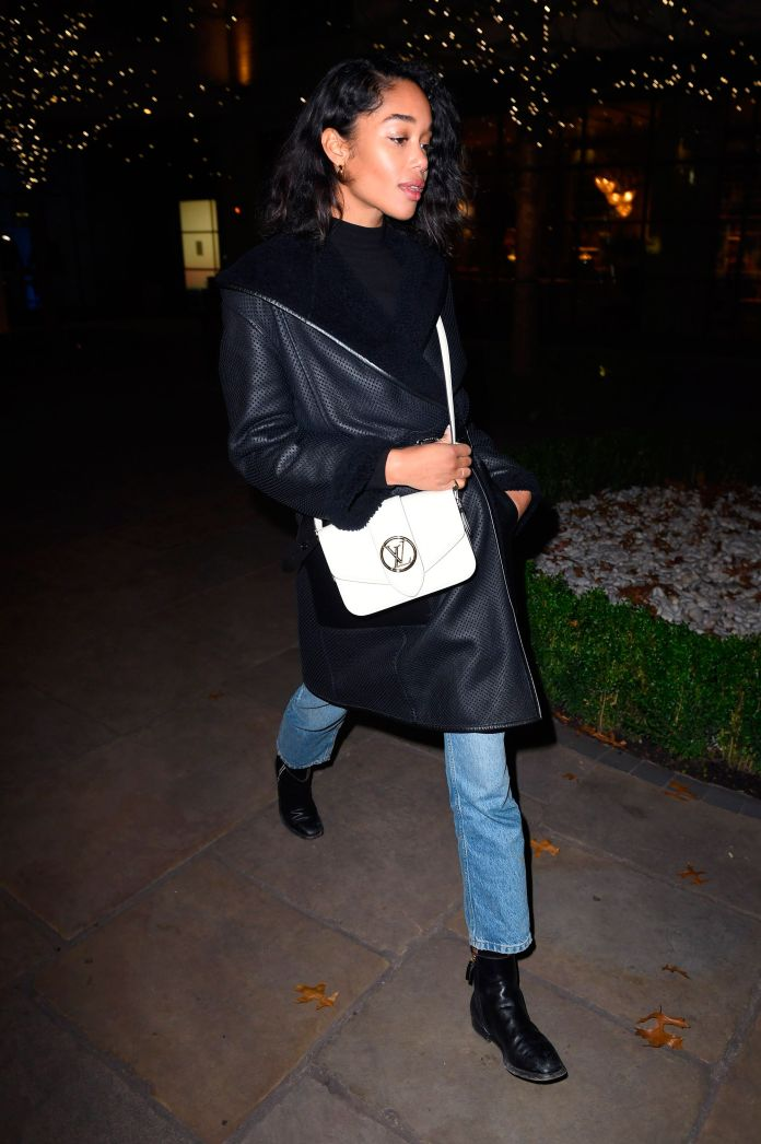laura harrier with the bag lv pont 9 of louis vuitton