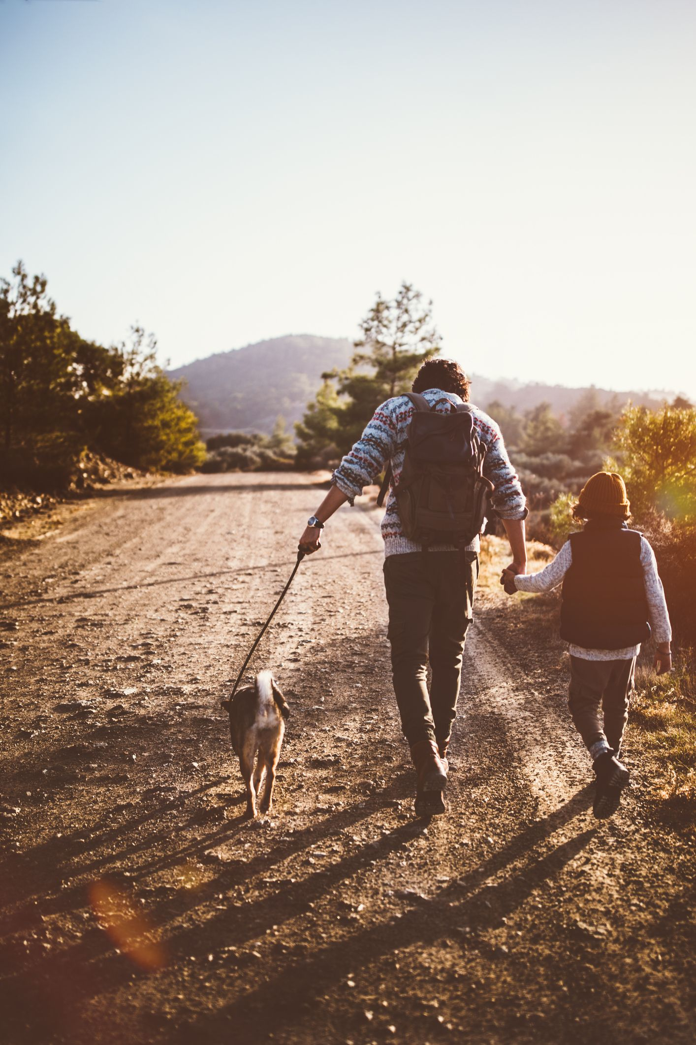 father and son with family dog hiking on mountains