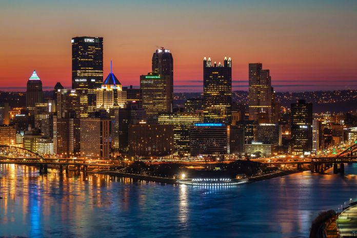 Beautifully Viewed By Overlooking The West End Of Pittsburgh Sunrise