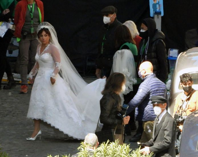 Rome, Italy April 08 Lady Gaga enters the church wearing a wedding dress on the set of the Gucci House on April 8, 2021 in Rome, Italy Photo by Megagc Pictures