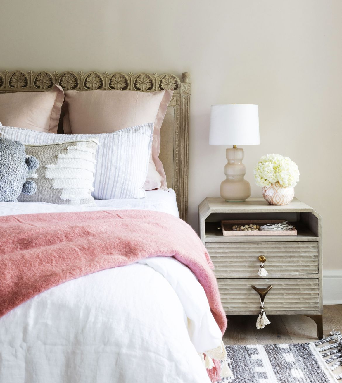 home featuring warm neutrals and soothing blue hues to accent the beautiful architecture of the vintage home interior designer karen b wolf bedroom