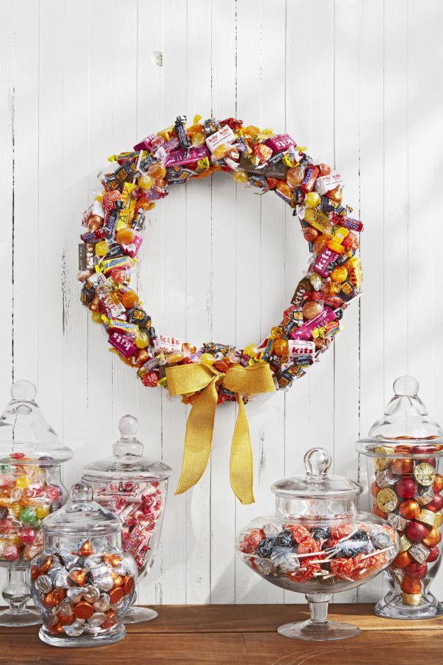 halloween candy wreaths crafts