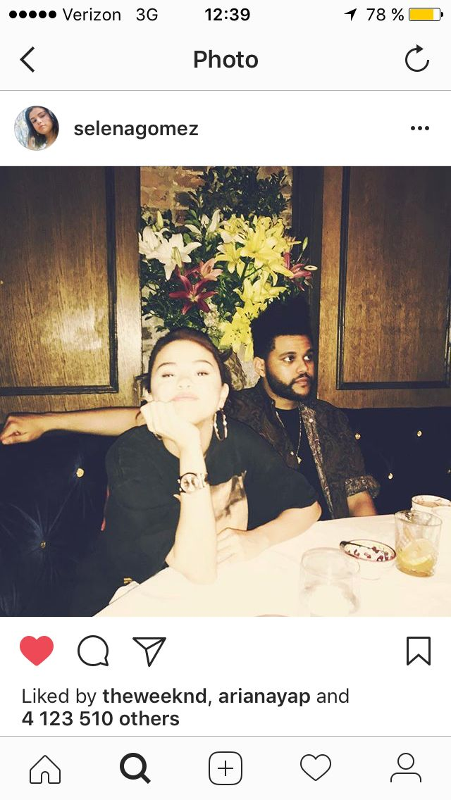 Selena Gomez and The Weeknd in her post