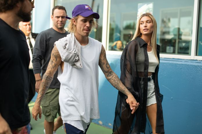 Hailey Bieber with her husband Justin in New York