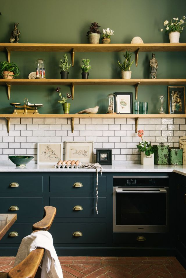 estante, habitación, muebles, encimera, verde, cocina, diseño de interiores, gabinetes, pared, estanterías,