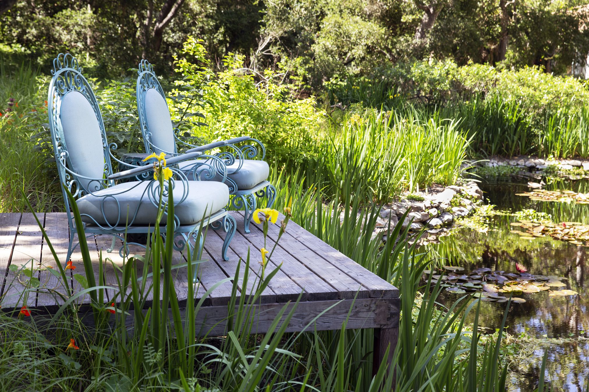 grace montecito pond outdoor seating ideas