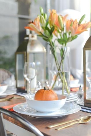 thanksgiving table setting - orange and white