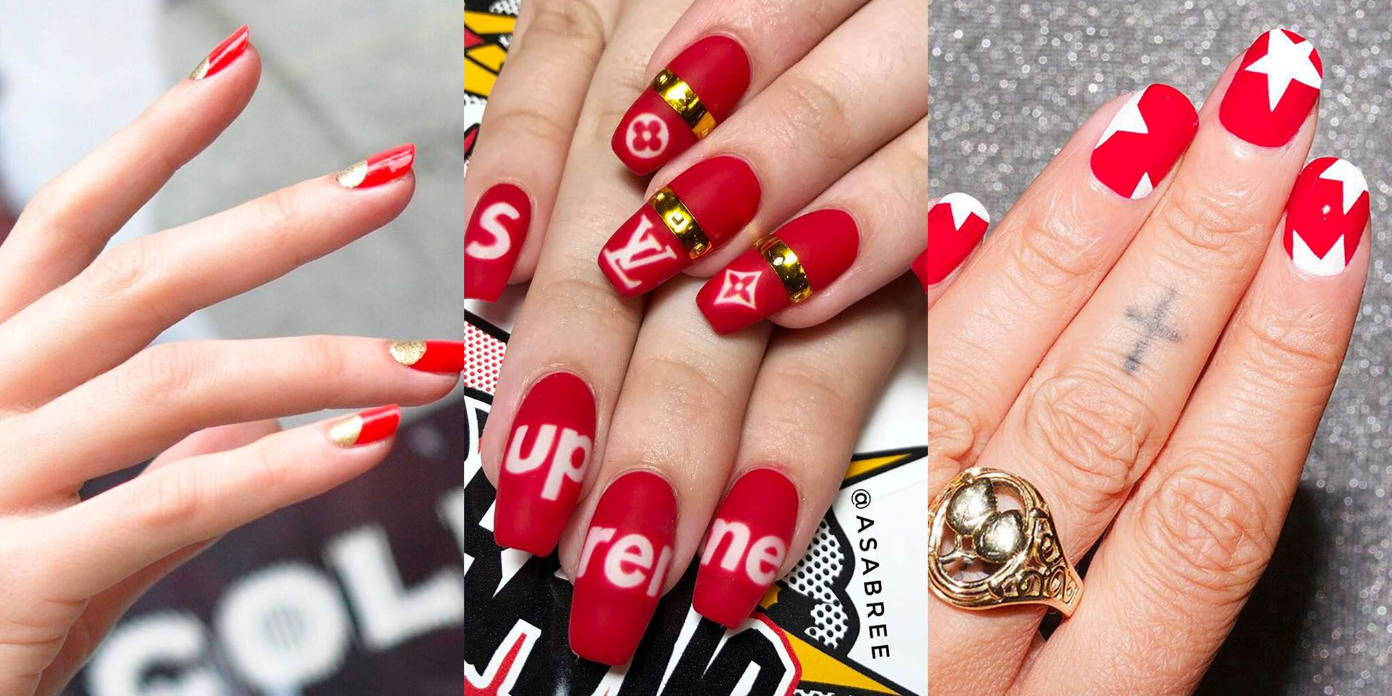 19 Non Basic Designs For Red Nails