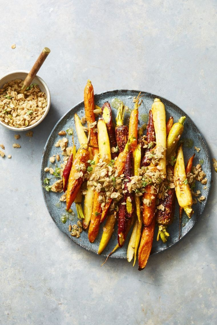 roasted carrots with cumin-thyme granola