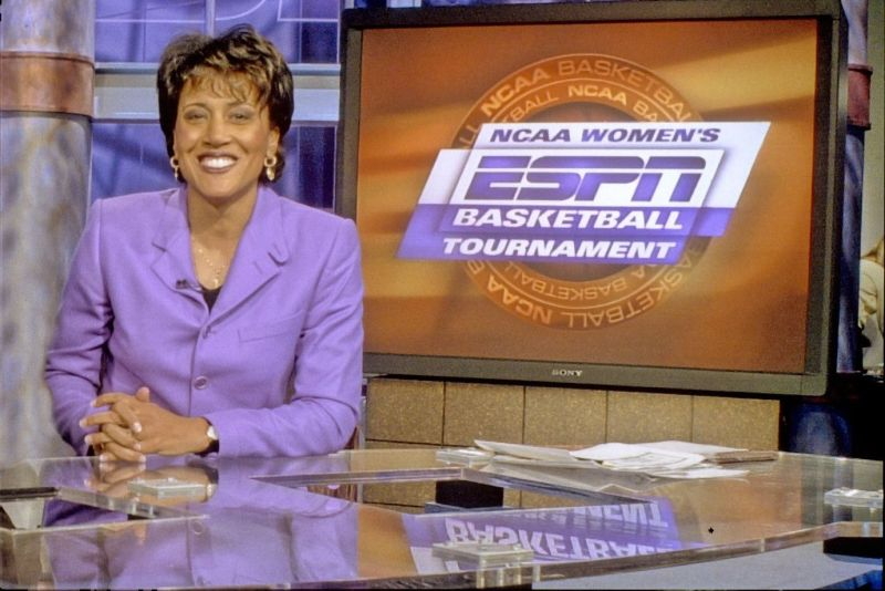 bristol, ct   march 1, 1997   espn campuson air talent member robin roberts is shown posing for a photo on the espn basketball tournament studio set back in 1997