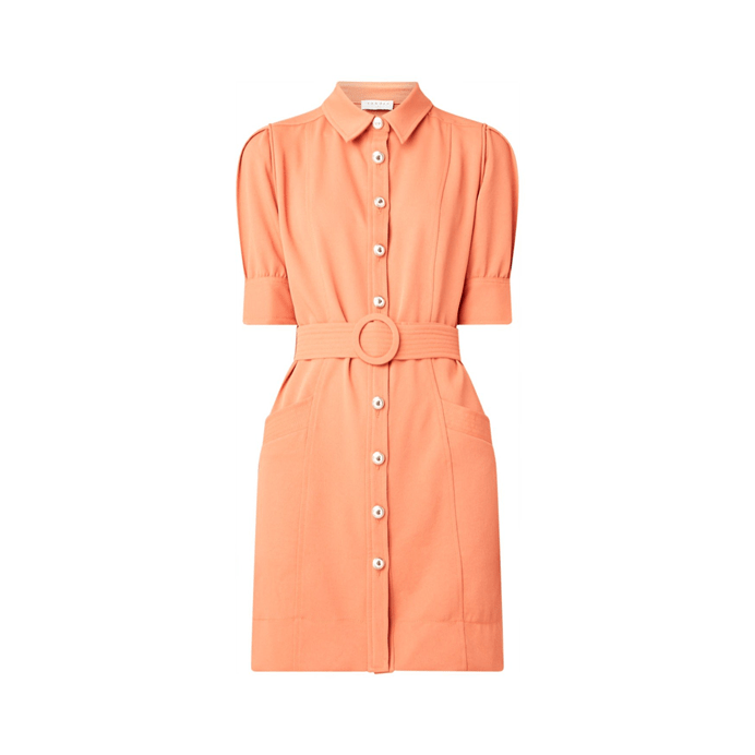 midi dress with puff sleeve and belt