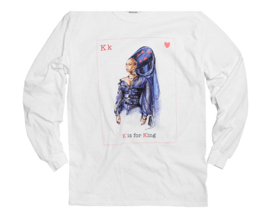 """In honor of Valentine's Day, Beyoncé recently dropped an entire capsule collection on her website. The Valentine's Day 2018 Capsule includes a King of Hearts longsleeve top featuring the singer, and a Beyoncé-themed phone case with the message """"Bey Mine"""" on it. Who needs flowers and chocolates when you can own Valentine's Beyoncé merch?"""