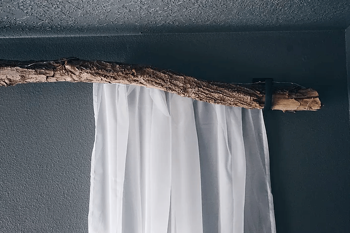 how to make a branch curtain rod
