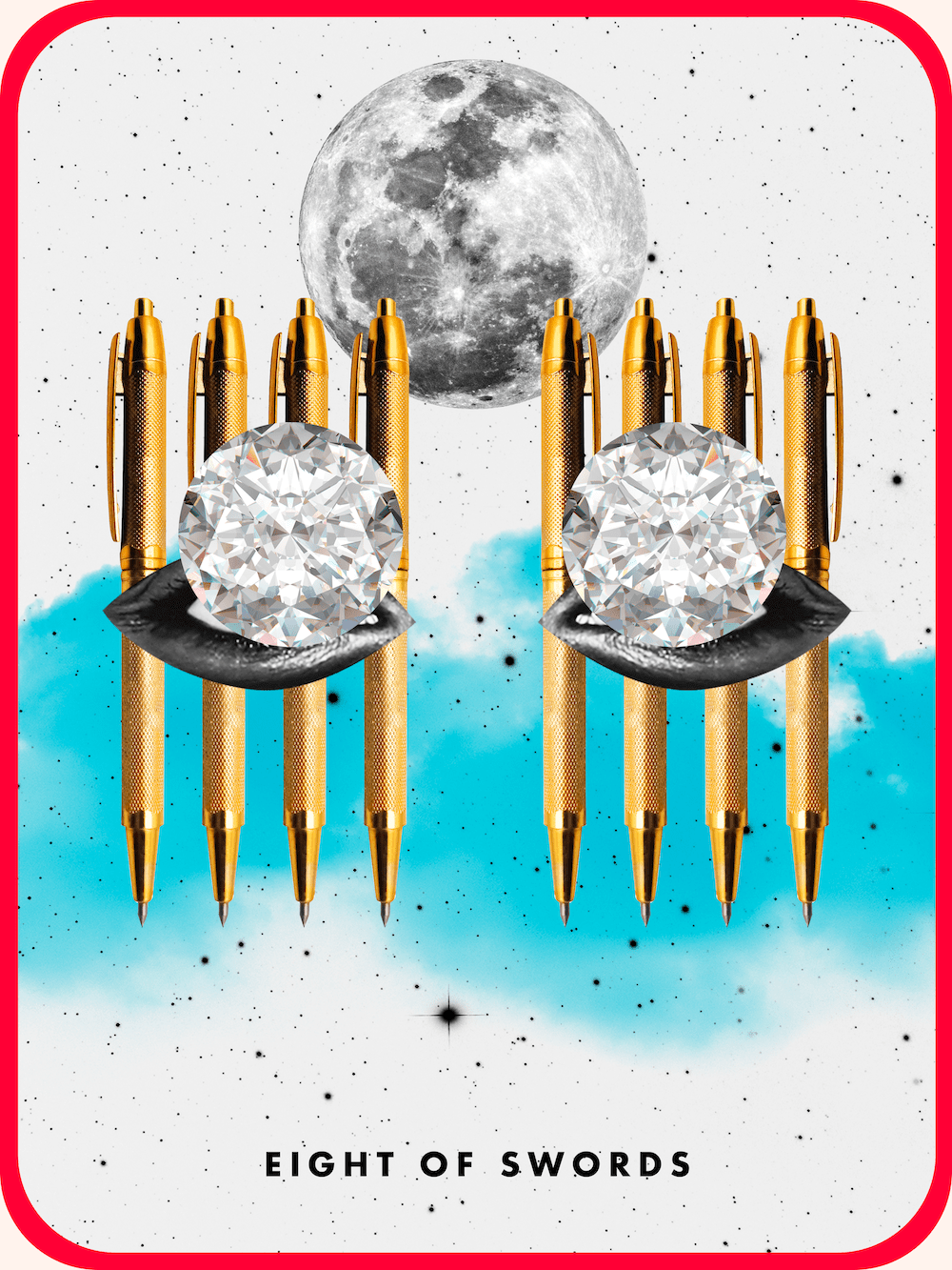 the tarot card the eight of swords, showing eight gold pens behind cutouts of lips and diamonds