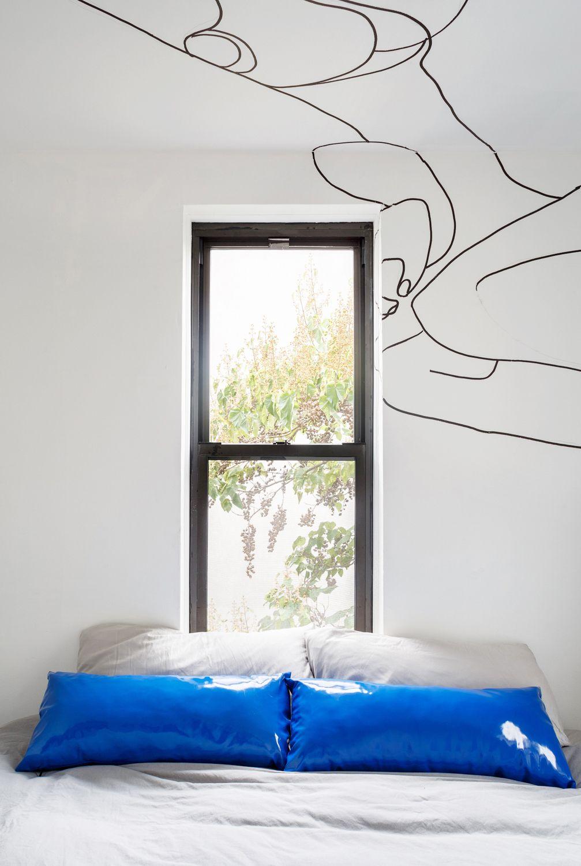 Blue, Room, Bedroom, Furniture, Bed, Wall, Bed sheet, Bed frame, Interior design, Bedding,
