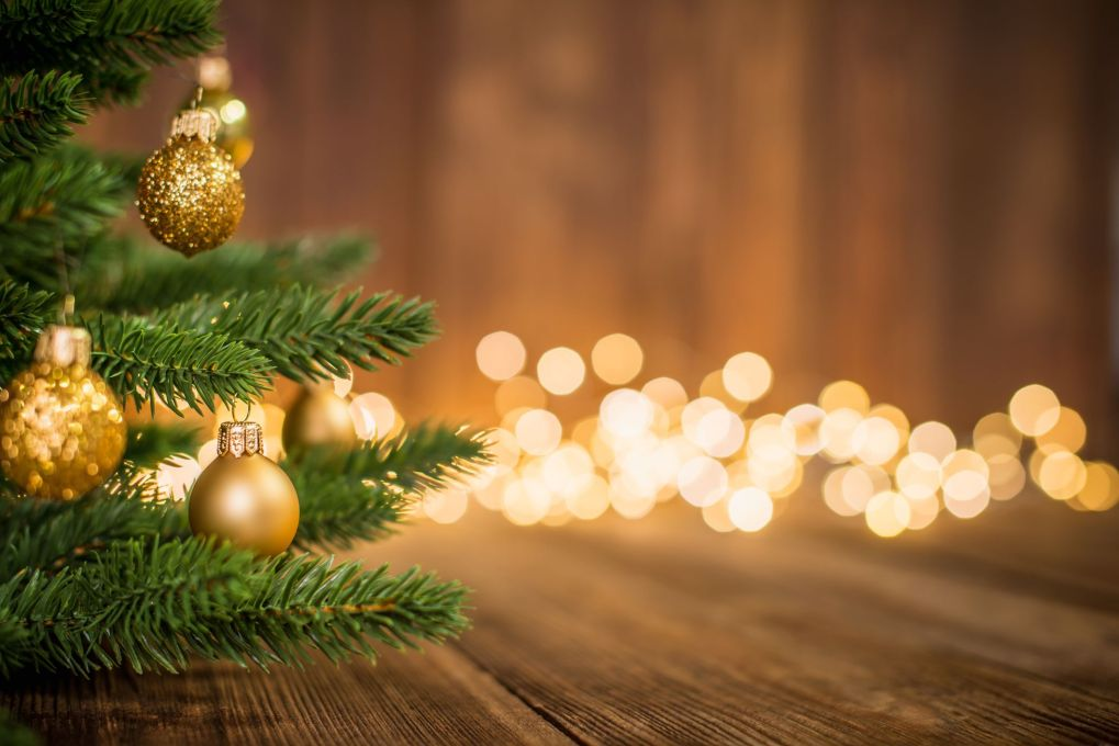 fir tree decorated with christmas balls on rustic royalty free image