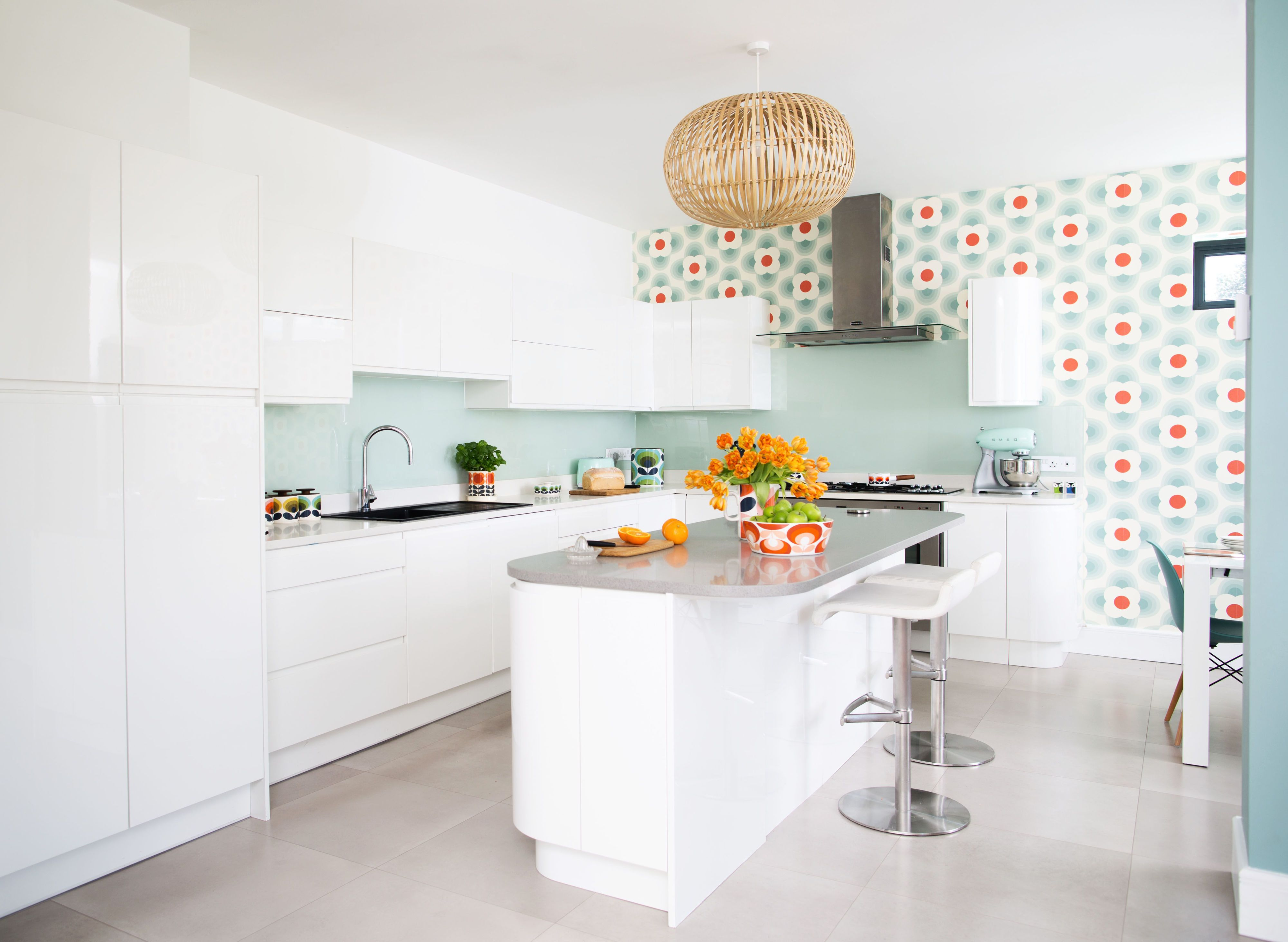 Orla Kiely Wallpaper Brings Colourful Retro Look To New Kitchen Design Slater kitchen makeover