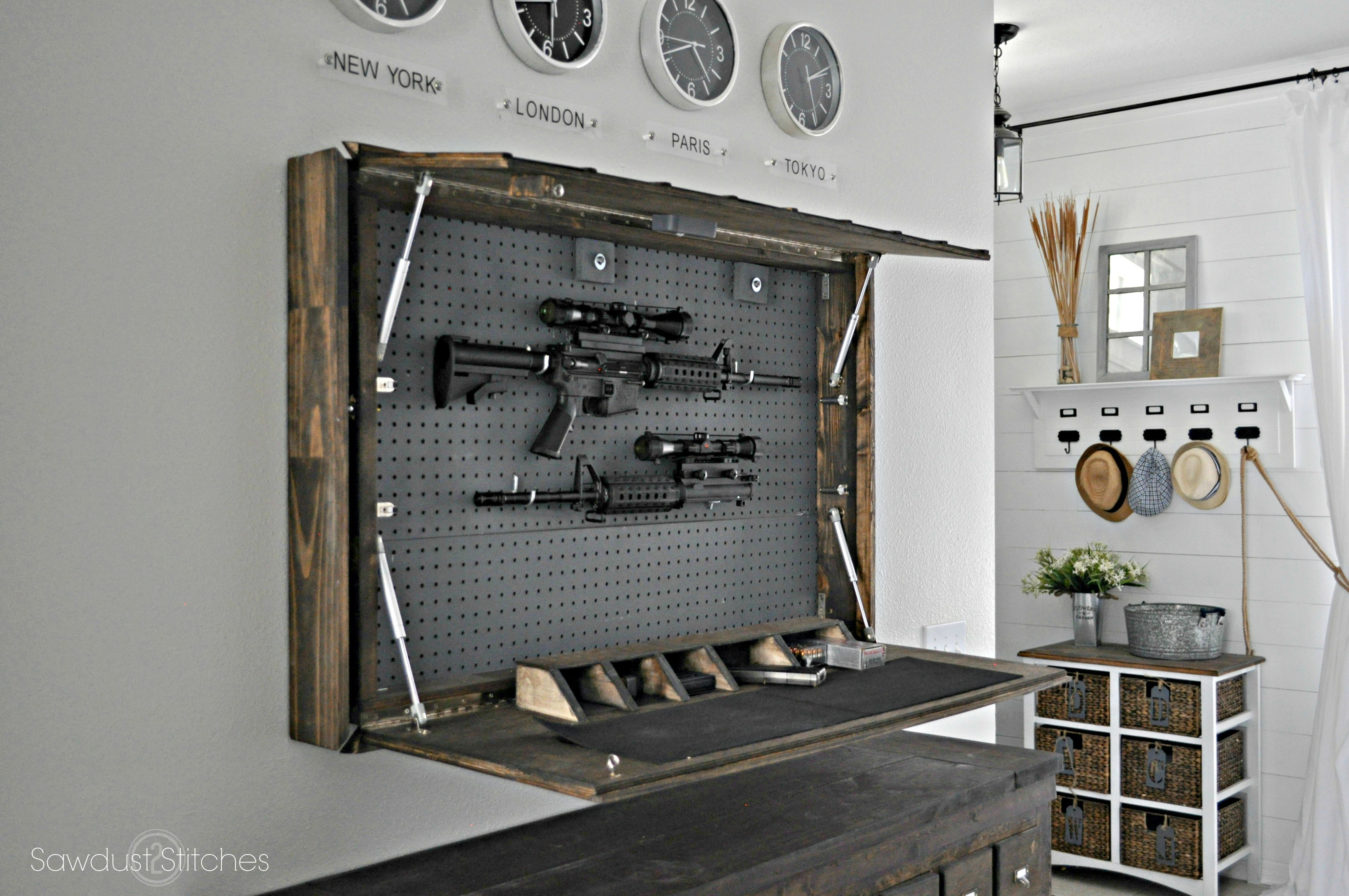 secret diy gun compartment hides behind