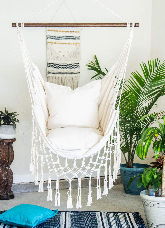 white macrame hammock chair