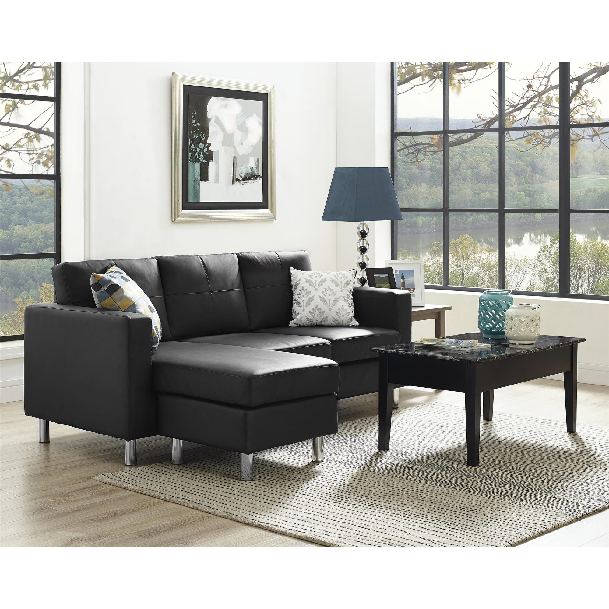 black small spaces configurable sectional