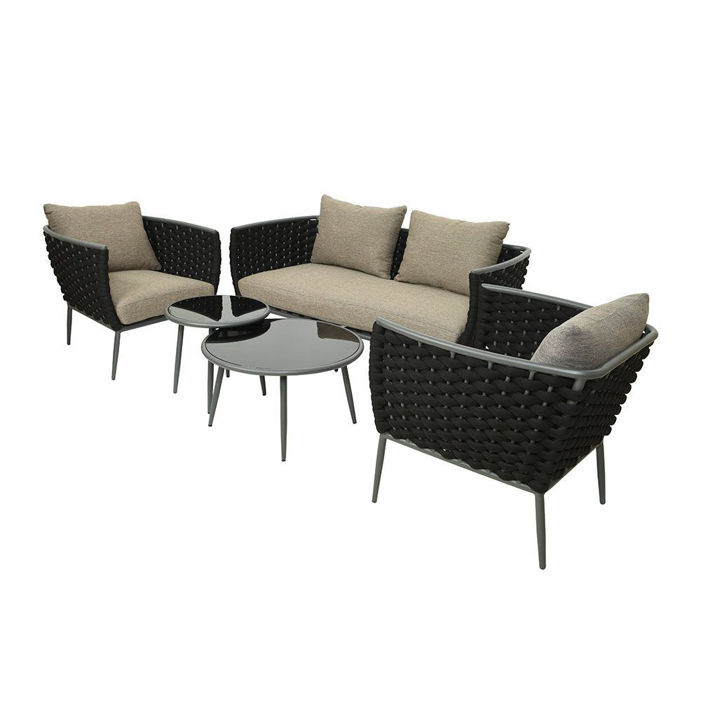outdoor woven lounge set anthracite