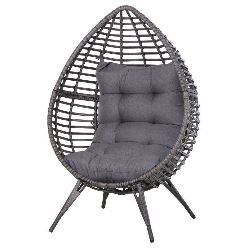 wicker patio chair with cushions