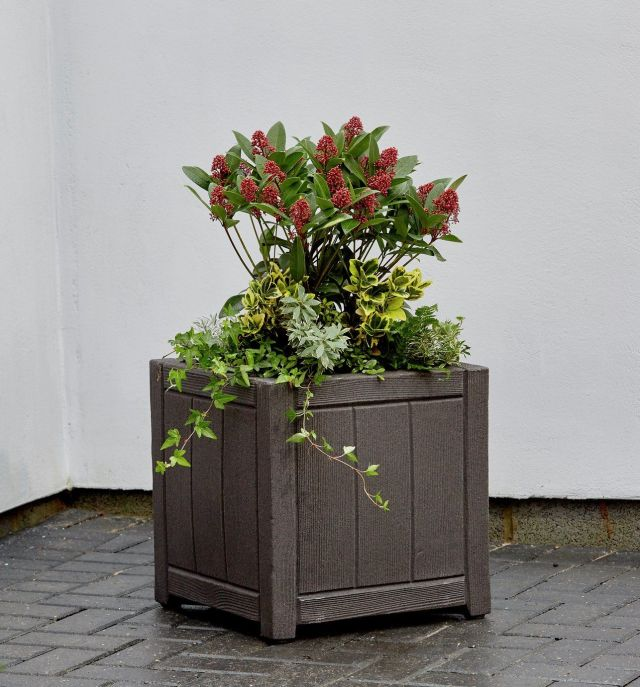 Square Wood Effect Planter