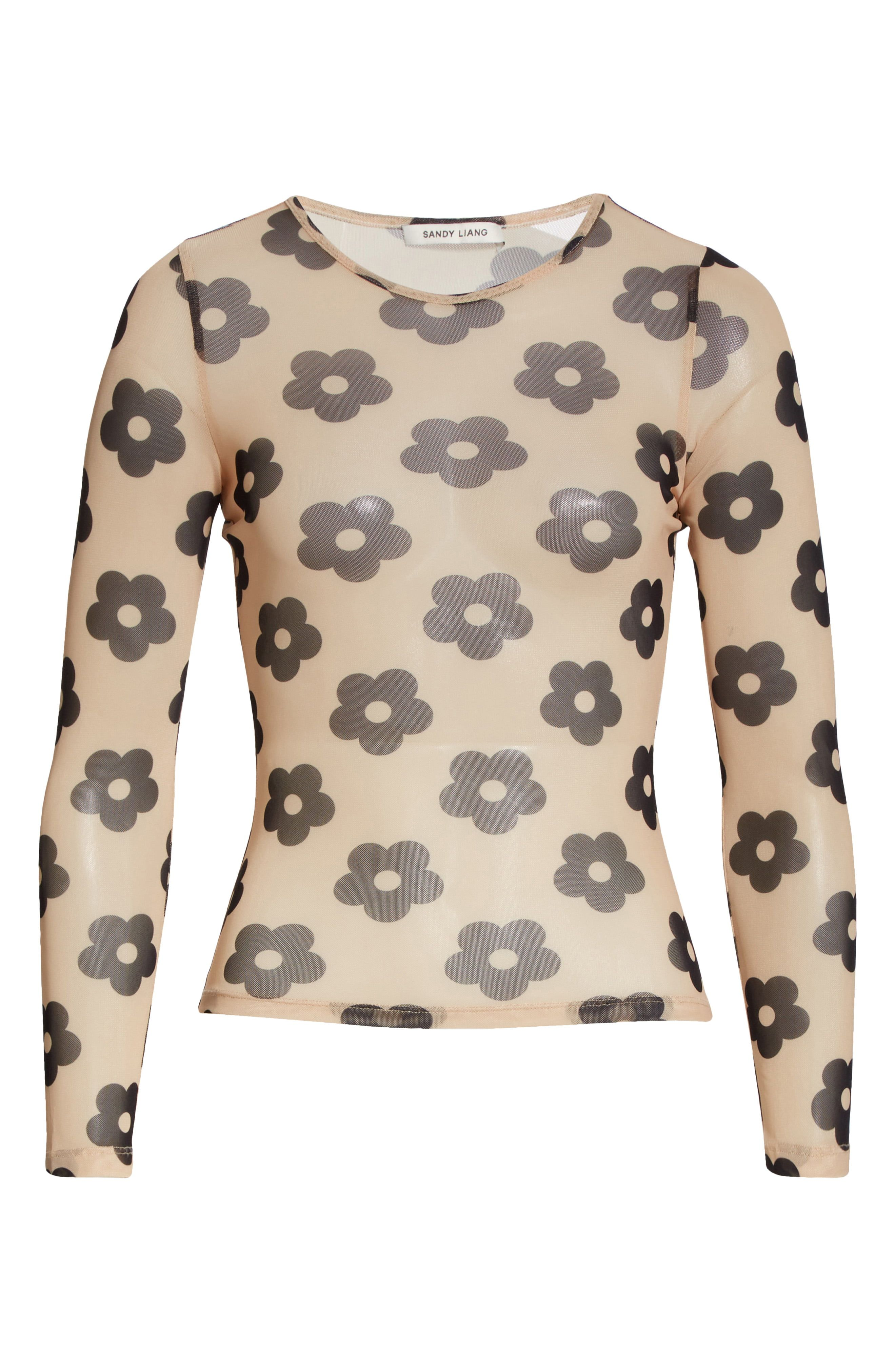 Floral Print Mesh Long Sleeve T-Shirt