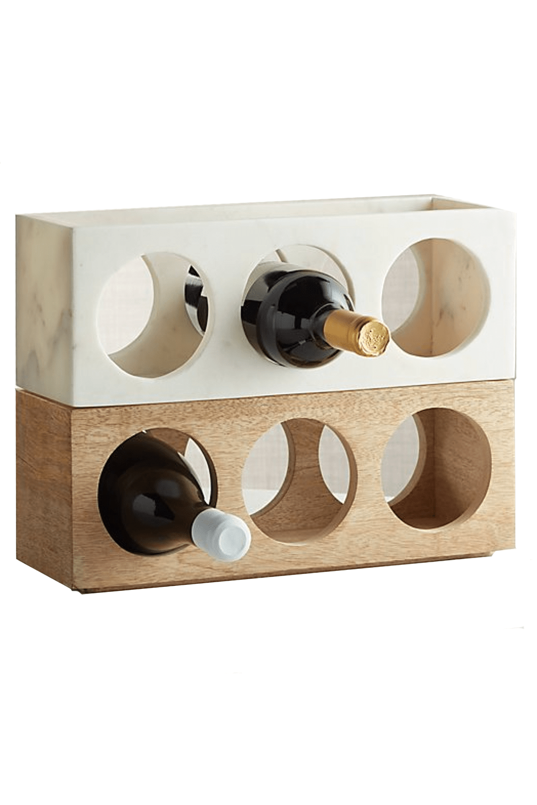 wood and marble stacking wine rack set of 2