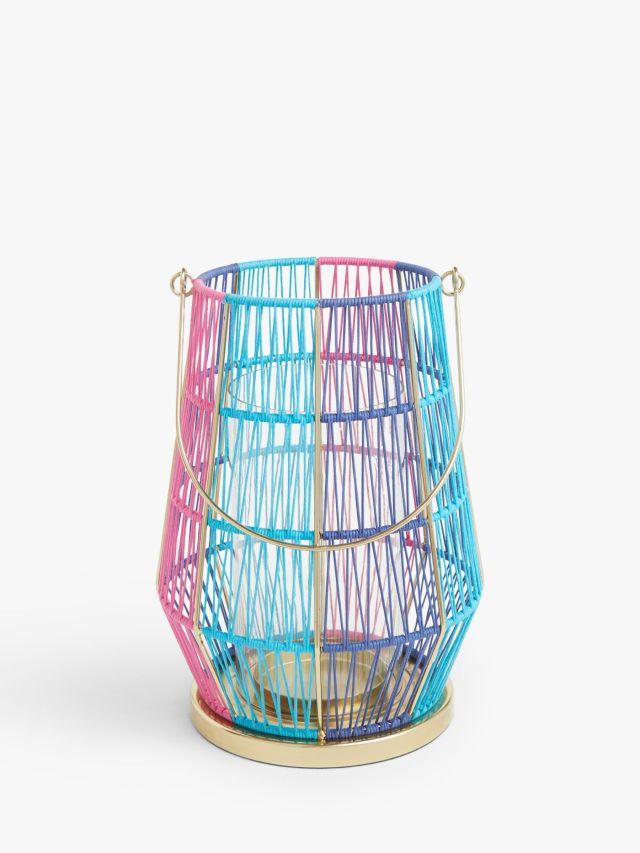 Summer Lantern Candle Holder, Pink/Blue, H26 cm