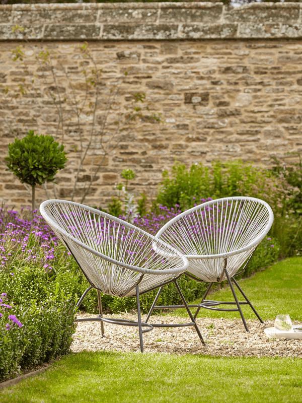 indoor outdoor grey string chair