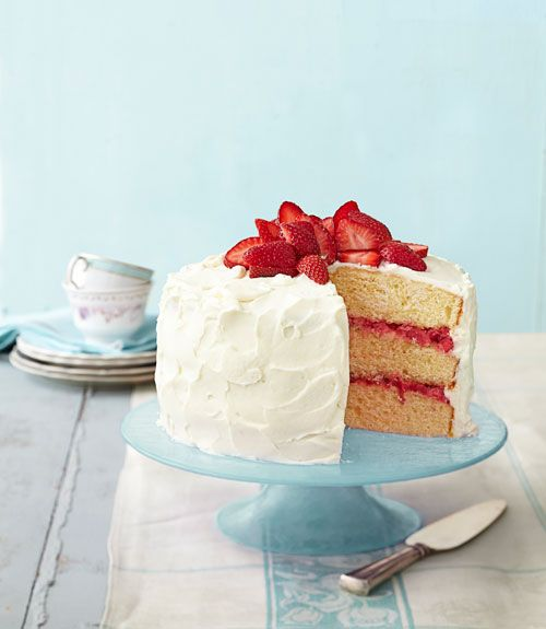 strawberry rhubarb layer cake- easter cakes