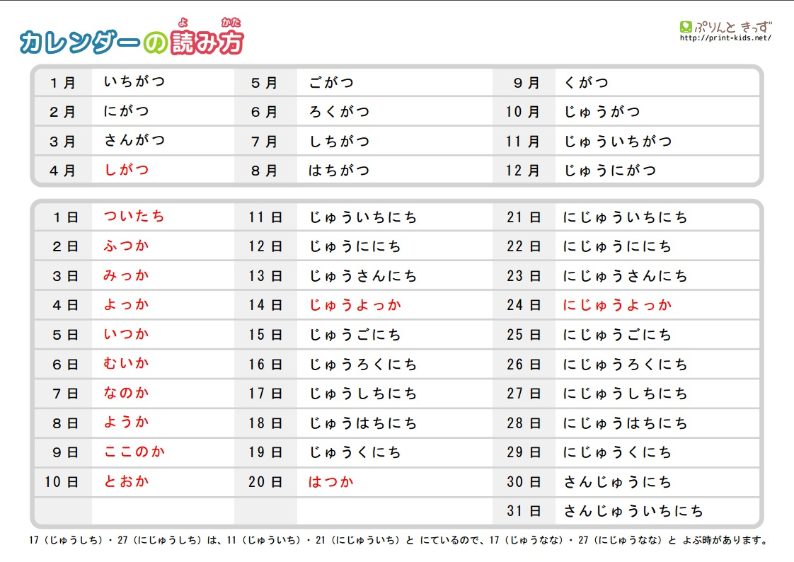 How To Read A Calendar In Japanese