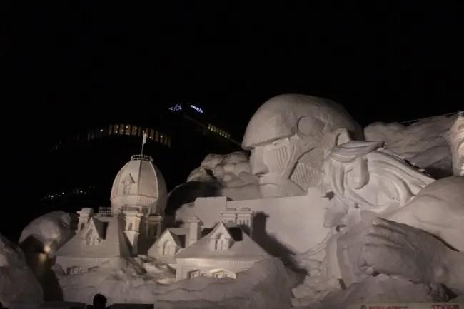 さっぽろ雪まつりに行ってみたぞ!!今年は『進撃の巨人』が札幌に襲来!!