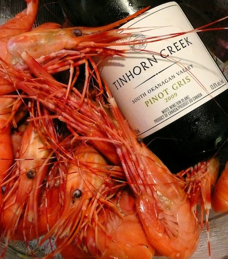 Spot prawns with BC Tinhorn Creek Gris